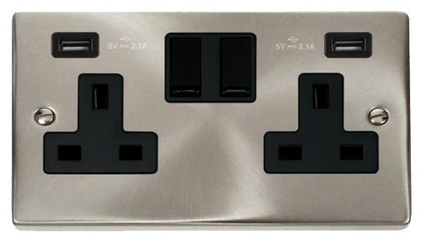 Satin Chrome 2 Gang 13A 2 USB Twin Double Switched Plug Socket - Black Trim
