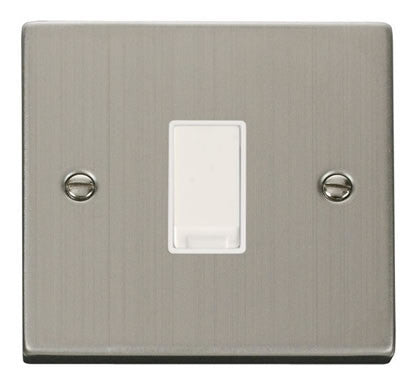 Stainless Steel 10A 1 Gang 2 Way Light Switch - White Trim