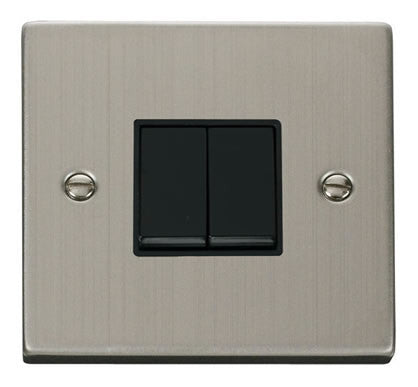 Stainless Steel 10A 2 Gang 2 Way Light Switch - Black Trim