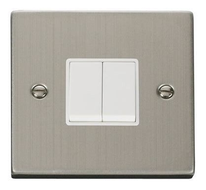 Stainless Steel 10A 2 Gang 2 Way Switch - White