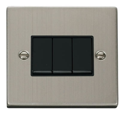 Stainless Steel 10A 3 Gang 2 Way Light Switch - Black Trim