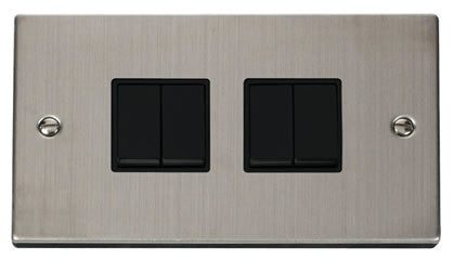 Stainless Steel 10A 4 Gang 2 Way Light Switch - Black Trim