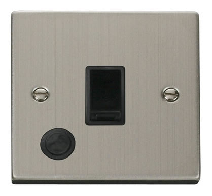 Stainless Steel 1 Gang 20A DP Switch With Flex - Black