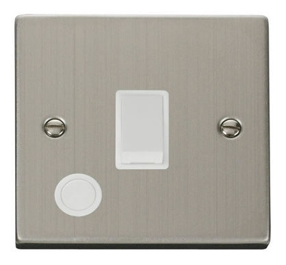 Stainless Steel 1 Gang 20A DP Switch With Flex - White