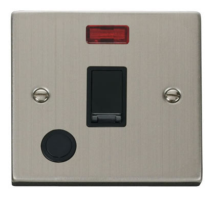 Stainless Steel 1 Gang 20A DP Switch With Flex With Neon - Black