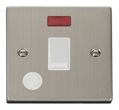 Stainless Steel 1 Gang 20A DP Switch With Flex With Neon - White