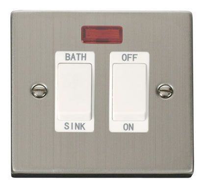 Stainless Steel 20A DP Sink/bath Switch - White Trim