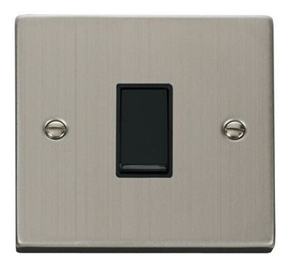 Stainless Steel 10A 1 Gang Intermediate Light Switch - Black Trim