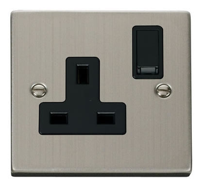 Stainless Steel 1 Gang 13A DP Switched Socket - Black