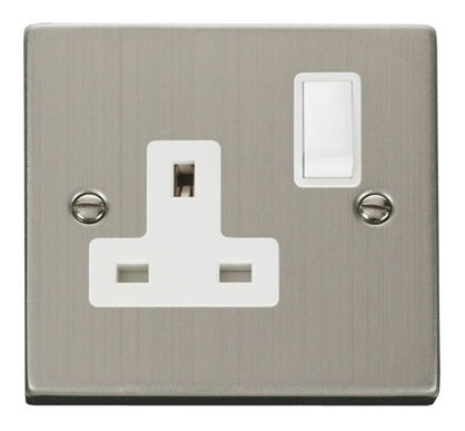 Stainless Steel 1 Gang 13A DP Switched Plug Socket - White Trim