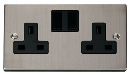 Stainless Steel 2 Gang 13A Twin Double Switched Plug Socket - Black Trim