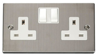 Stainless Steel 2 Gang 13A Twin Double Switched Plug Socket - White Trim