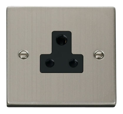 Stainless Steel 1 Gang 5A Round Pin Socket - Black