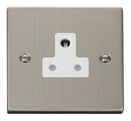 Stainless Steel 1 Gang 5A Round Pin Socket - White