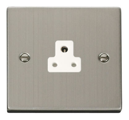 Stainless Steel 1 Gang 2A Round Pin Socket - White Trim