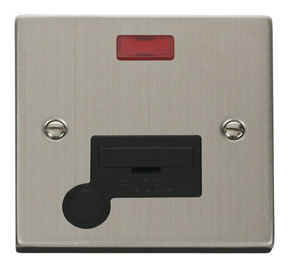 Stainless Steel 13A Fused Connection Unit With Neon With Flex - Black Trim