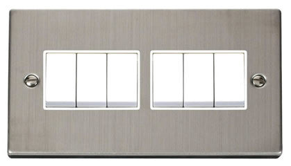 Stainless Steel 10A 6 Gang 2 Way Light Switch - White Trim