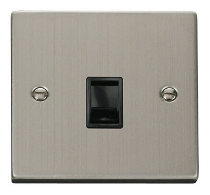 Stainless Steel Rj11 Socket - Black Trim