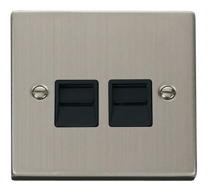 Stainless Steel Master Telephone Twin Socket - Black Trim