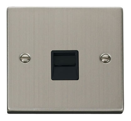 Stainless Steel Secondary Telephone Single Socket - Black Trim