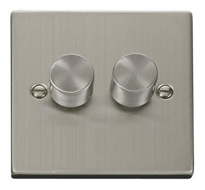 Stainless Steel 2 Gang 2 Way 400w Dimmer Switch - Black