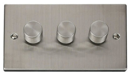 Stainless Steel 3 Gang 2 Way 400w Dimmer Switch - White