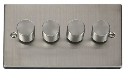Stainless Steel 4 Gang 2 Way 400w Dimmer Light Switch