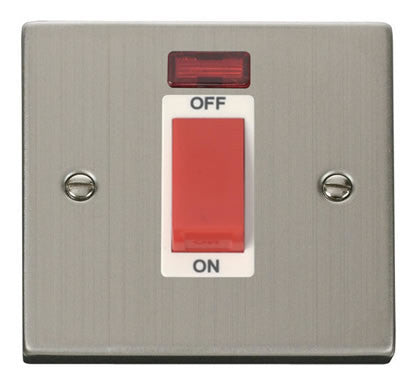 Stainless Steel 1 Gang Size 45A Switch With Neon - White