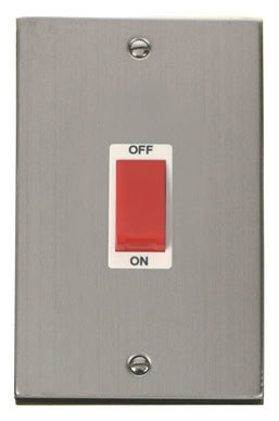 Stainless Steel 2 Gang Size 45A Switch - White Trim
