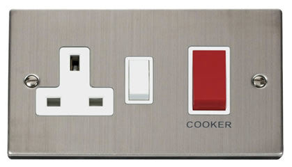 Stainless Steel Cooker Control 45A With 13A Switched Socket - White