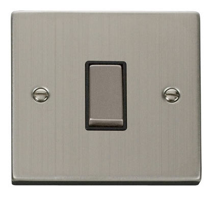 Stainless Steel 10A 1 Gang 2 Way Ingot Light Switch - Black Trim