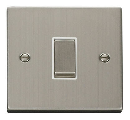 Stainless Steel 10A 1 Gang 2 Way Ingot Light Switch - White Trim