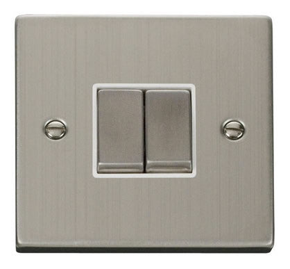 Stainless Steel 10A 2 Gang 2 Way Ingot Light Switch - White Trim