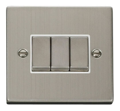 Stainless Steel 10A 3 Gang 2 Way Ingot Light Switch - White Trim