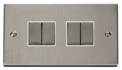 Stainless Steel 10A 4 Gang 2 Way Ingot Light Switch - White Trim