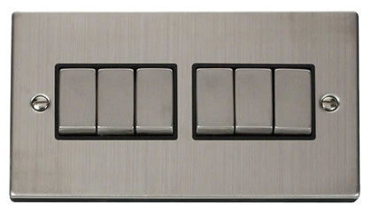 Stainless Steel 10A 6 Gang 2 Way Ingot Light Switch - Black Trim