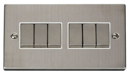 Stainless Steel 10A 6 Gang 2 Way Ingot Light Switch - White Trim