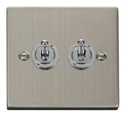 Stainless Steel 2 Gang 2 Way 10AX Toggle Light Switch