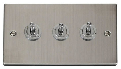 Stainless Steel 3 Gang 2 Way 10AX Toggle Switch - White