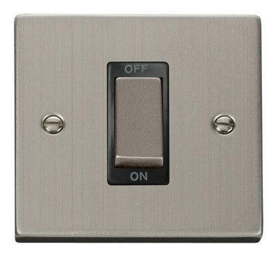 Stainless Steel 1 Gang Ingot Size 45A Switch - Black