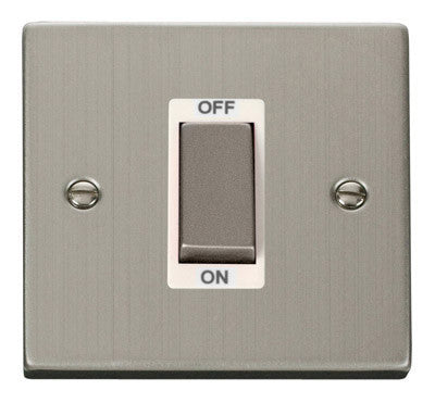 Stainless Steel 1 Gang Ingot Size 45A Switch - White Trim
