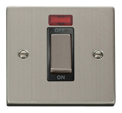 Stainless Steel 1 Gang Ingot Size 45A Switch With Neon - Black