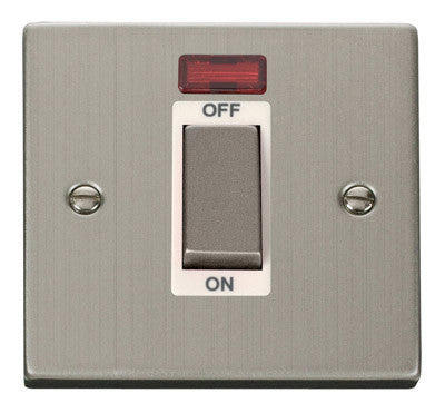 Stainless Steel 1 Gang Ingot Size 45A Switch With Neon - White Trim