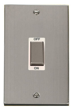 Stainless Steel 2 Gang Ingot Size 45A Switch - White Trim