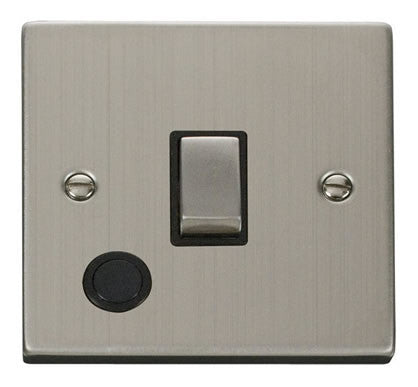 Stainless Steel 1 Gang 20A Ingot DP Switch With Flex - Black