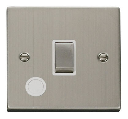 Stainless Steel 1 Gang 20A Ingot DP Switch With Flex - White