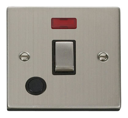 Stainless Steel 1 Gang 20A Ingot DP Switch With Flex With Neon - Black Trim