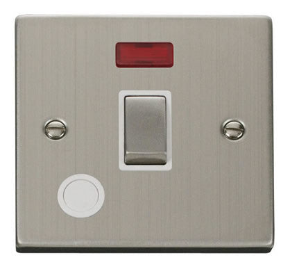 Stainless Steel 1 Gang 20A Ingot DP Switch With Flex With Neon - White Trim