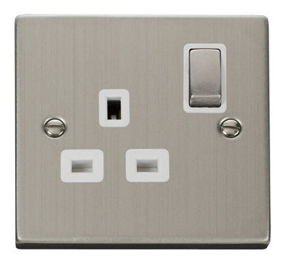 Stainless Steel 1 Gang 13A DP Ingot Switched Plug Socket - White Trim