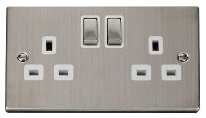 Stainless Steel 2 Gang 13A DP Ingot Twin Double Switched Plug Socket - White Trim